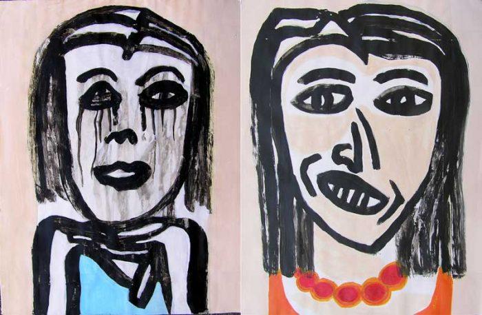Jocelyne Colas 2008 - Portraits en masque - Acryliques sur papier