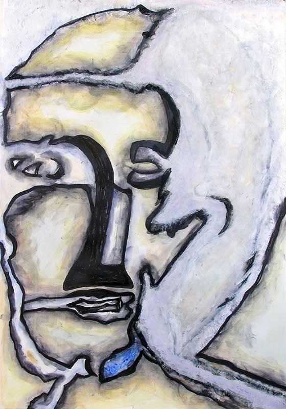 Katerine Bruneau 2008 - Portrait en masque - Acrylique sur papier