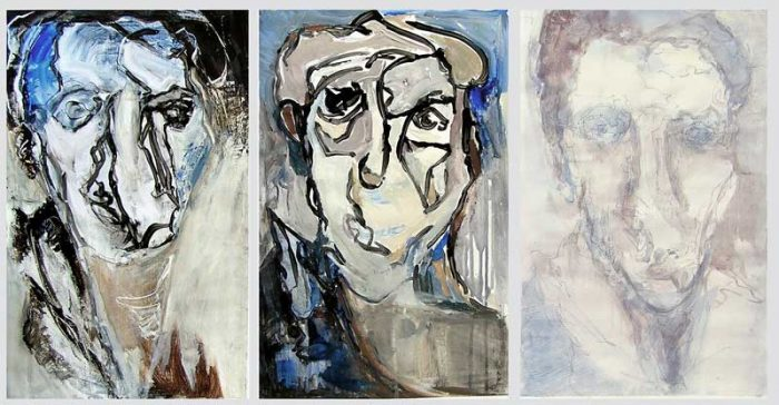 Lucy Avril 2008 - Portraits en masque - Acryliques sur papier