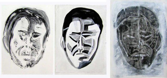 Marinette Le Hen 2008 - Portraits en masque - Acryliques sur papier