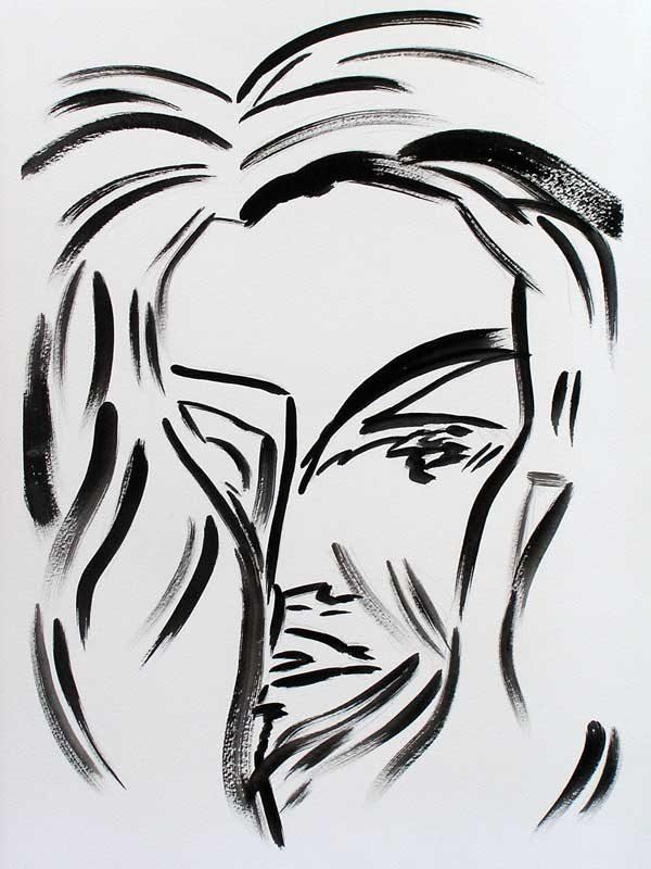 Martine Lucy 2008 - Portrait en masque - Acrylique sur papier