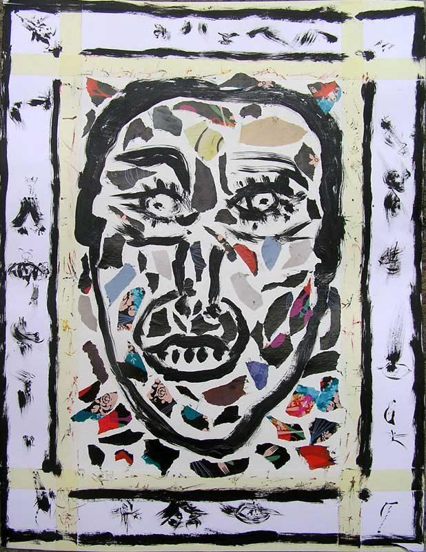 Martine Smagghe 2008 - Portrait en masque - Acrylique et adhésif sur papier