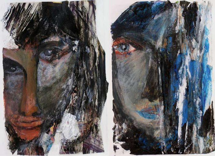 Mijo Gilbert 2008 - Portraits en masque - Acryliques et collages sur papier