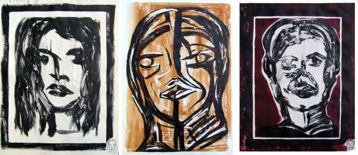 Pauline Dautel 2008 - Portrait en masque - Acrylique sur papier