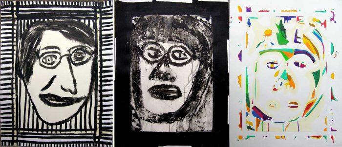 Philippe Touati 2008 - Portrait en masque - Acrylique sur papier