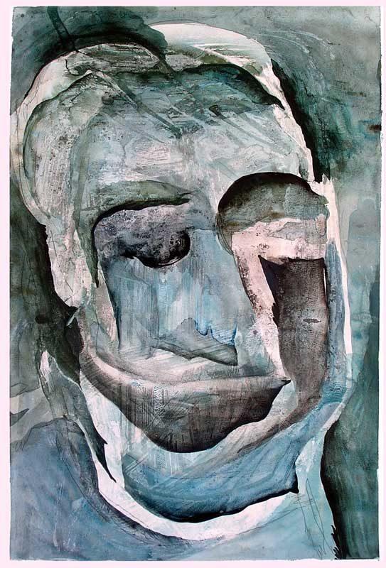 Solenne Blanc 2008 - Portrait en masque - Acrylique sur papier