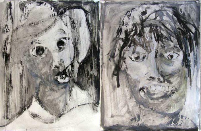 Stéphanie Faivre 2008 - Portraits en masque - Acrylique sur papier