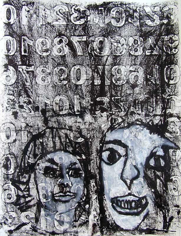 Stéphanie Faivre 2008 - Portraits en masque - Acrylique sur papier avec monotype