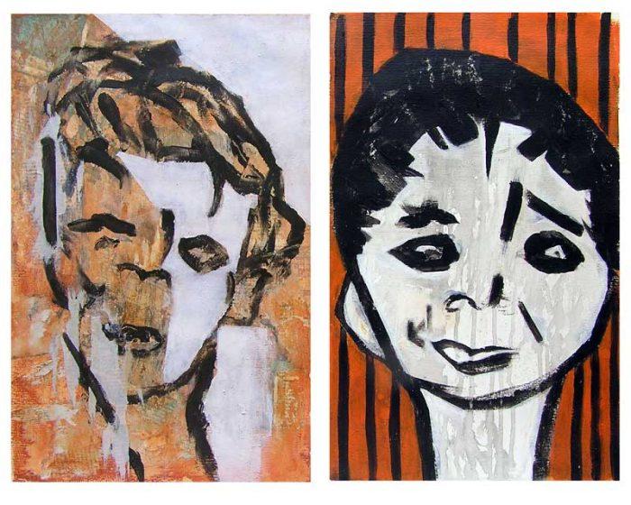 Yvonne Thoumyre 2008 - Portrait en masque - Acrylique et collage sur papier
