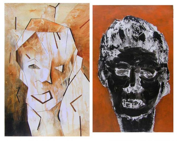 Yvonne Thoumyre 2008 - Portrait en masque - Acryliques sur papier