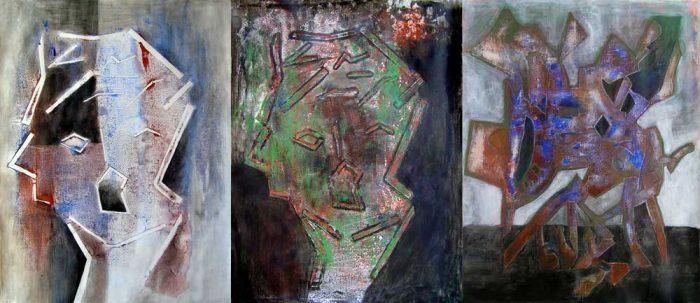 Yvonne Thoumyre 2008 - Portraits en masque - Acrylique et collage sur papier, lavis et empreinte avec pochoir.