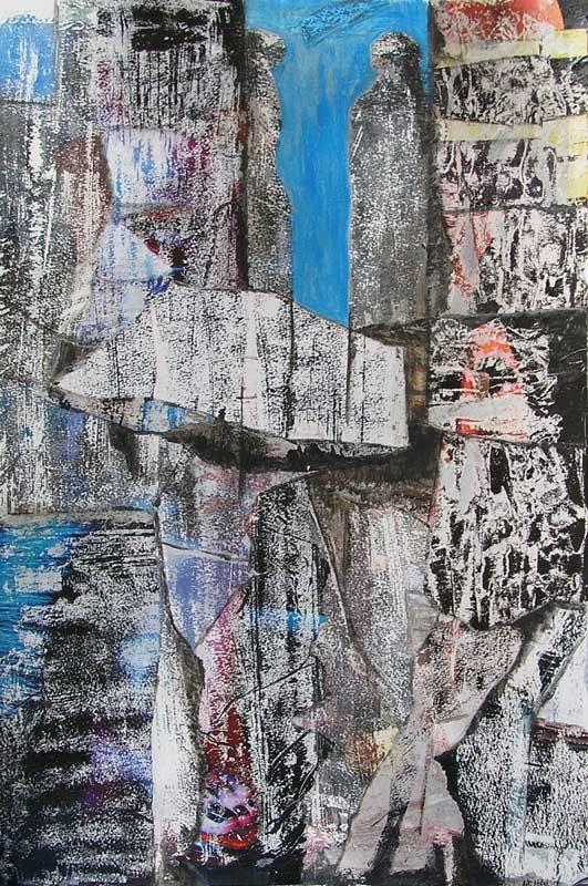 Christiane Bour 2008 - Composition à l'acrylique à base de collages et transferts (I)