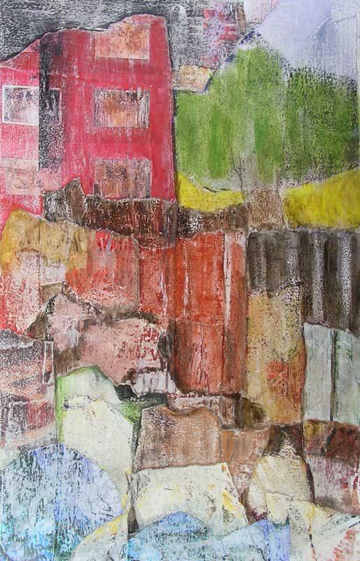 Christiane Bour 2008 - Composition à l'acrylique à base de collages et transferts (II)