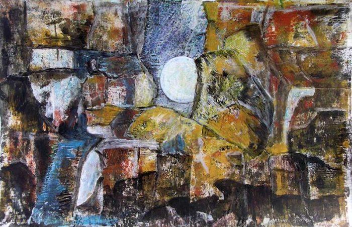 Christiane Bour 2008 - Composition à l'acrylique à base de collages et transferts (III)
