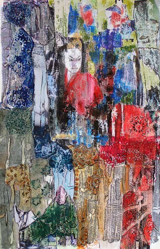 Christiane Bour 2008 - Composition à l'acrylique à base de collages et transferts (IV)