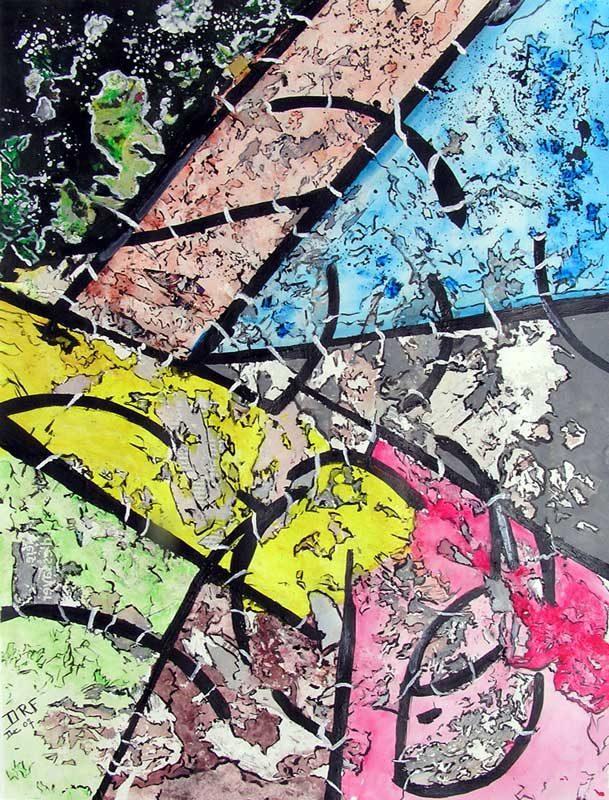Danielle Reissner 2008 - Composition à l'acrylique à base de collages et transferts (I)