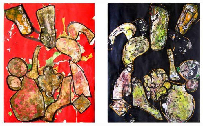 Danielle Reissner 2008 - Composition à l'acrylique à base de collages (II & III)