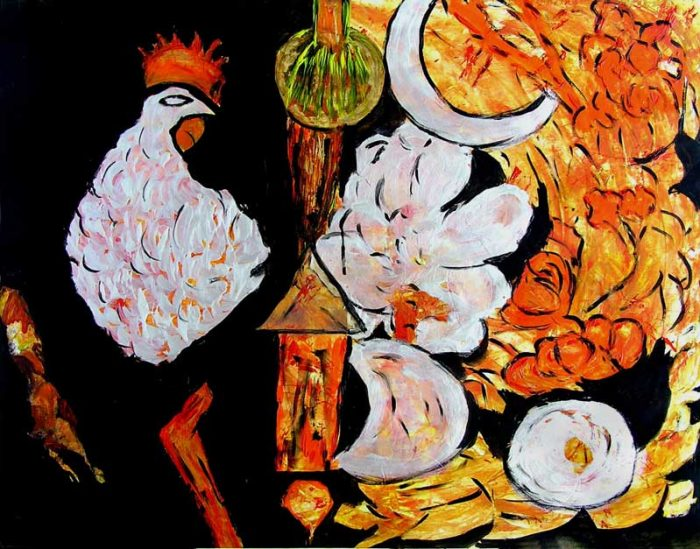 Danielle Reissner 2008 - Composition à l'acrylique à base de collages (V)
