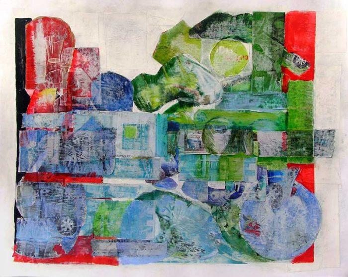 Dominique Delaroche 2008 - Composition à l'acrylique à base de collages (I)