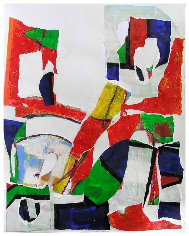 Dominique Delaroche 2008 - Composition à l'acrylique à base de collages (II)