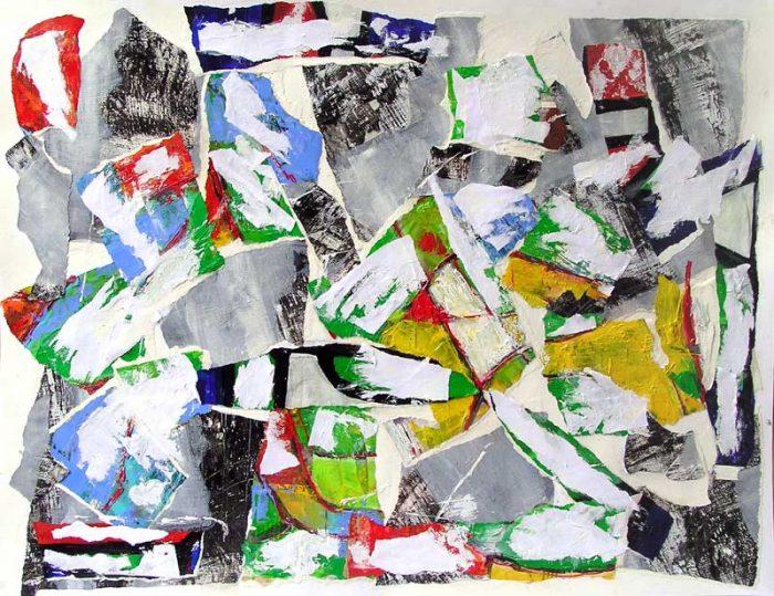 Dominique Delaroche 2008 - Composition à l'acrylique à base de collages (III)