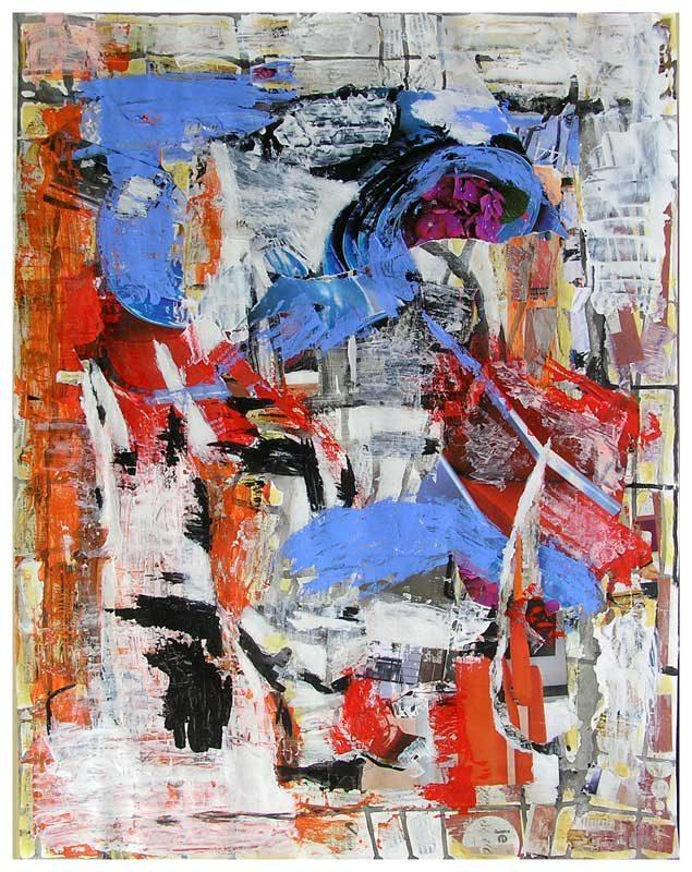 Dominique Delaroche 2008 - Composition à l'acrylique à base de collages (IV)