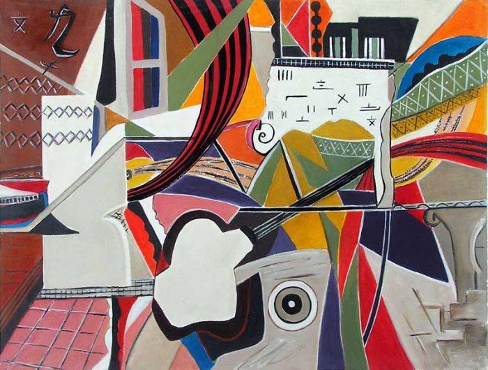 Françoise Gilardi 2008 - Composition à l'acrylique d'après un collage