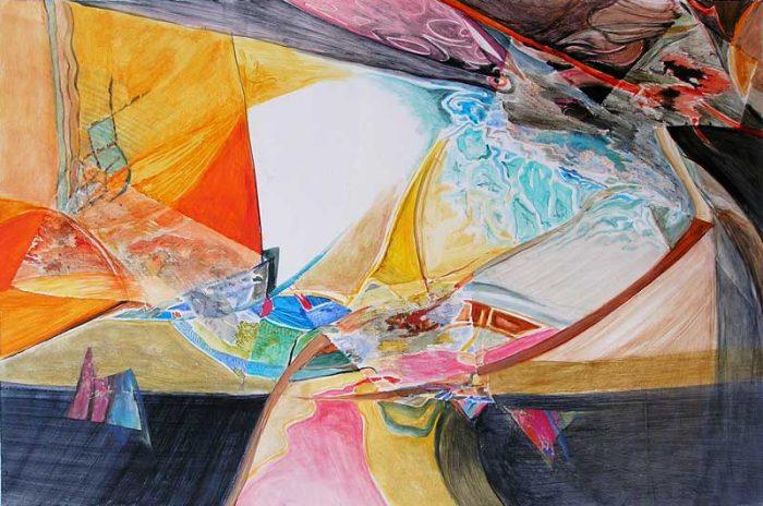 Françoise Guillemare 2008 - Composition à l'acrylique à base de collages