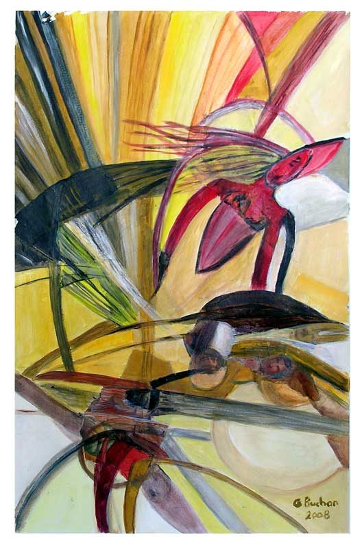 Geneviève Buchon 2008 - Composition à l'acrylique à base de collages
