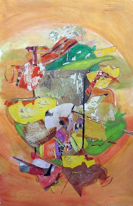 Gisèle Dubois 2008 - Composition à l'acrylique à base de collages (I)