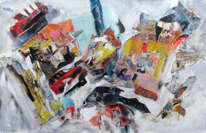 Gisèle Dubois 2008 - Composition à l'acrylique à base de collages (II)