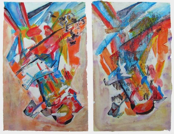 Gisèle Dubois 2008 - Compositions à l'acrylique à base de collages (III & IV)