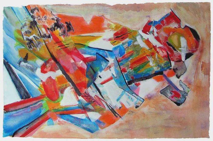Gisèle Dubois 2008 - Composition à l'acrylique à base de collages (V)