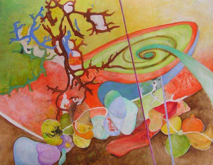 Isabelle Bisson 2008 - Composition à l'acrylique d'après un collage