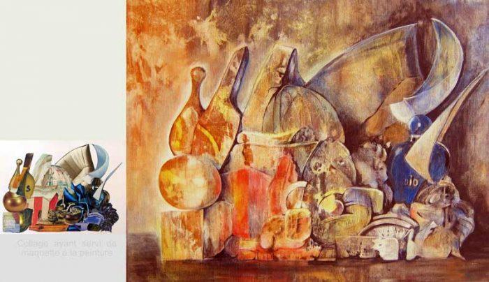 Jacqueline Gagnès-Deneux 2008 - Composition à l'acrylique d'après un collage