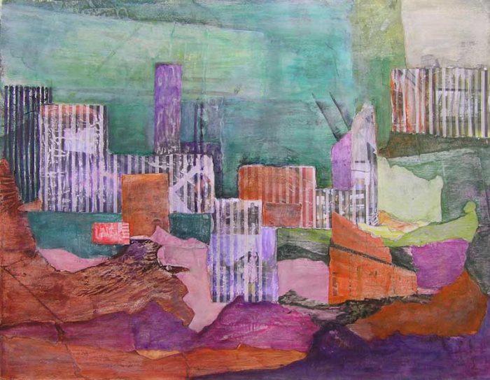 Lucienne Cywier  2008 - Composition à l'acrylique à base de collages (II)