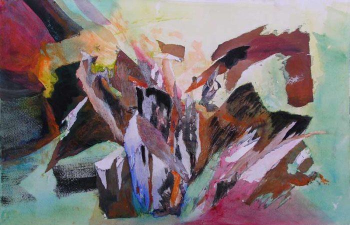 Lucienne Cywier  2008 - Composition à l'acrylique à base de collages (I)