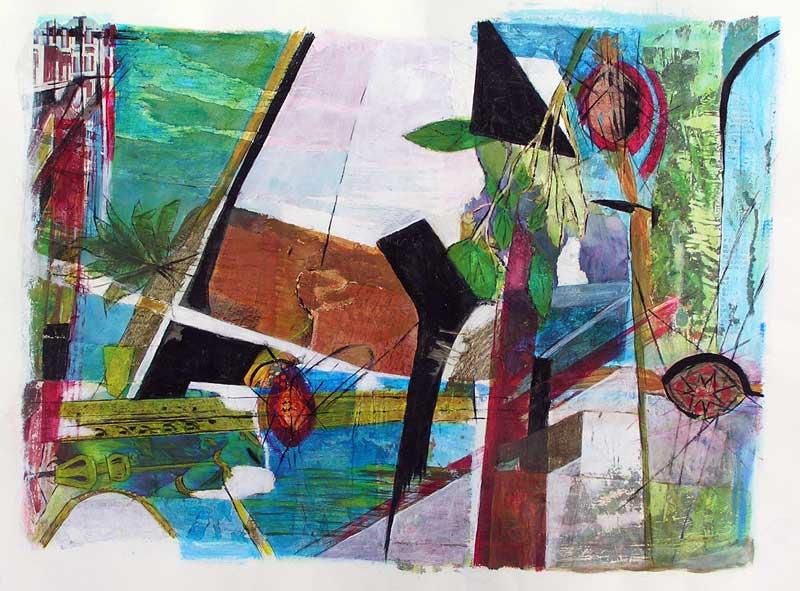 Marinette Le Hen 208 - Composition d'une peinture à partir de papiers collés.