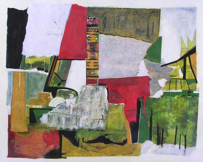 Marinette Le Hen 2008 - Composition à l'acrylique à base de collages (II)