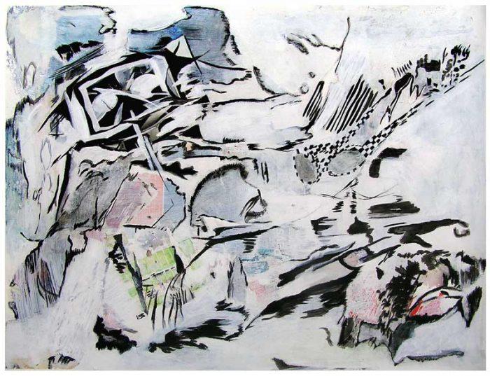 Martine Aubrey 2008 - Composition à l'acrylique à base de collages et transferts