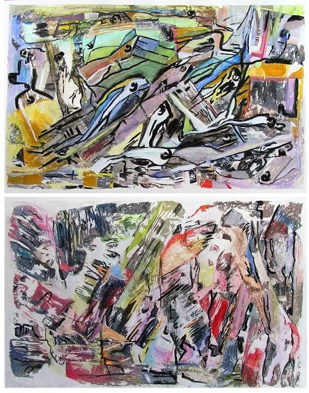 Mireille Vincent 2008 - Compositions à l'acrylique  à base de collages et transferts
