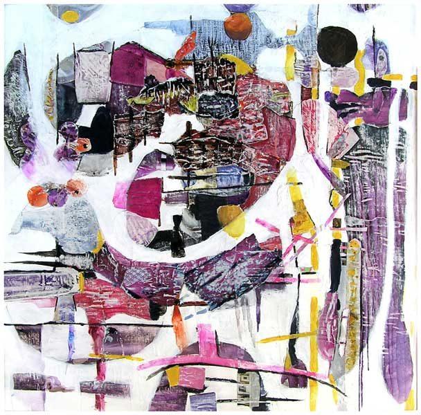 Nelly Bonmartin 2008 - Composition à l'acrylique sur collage (I)