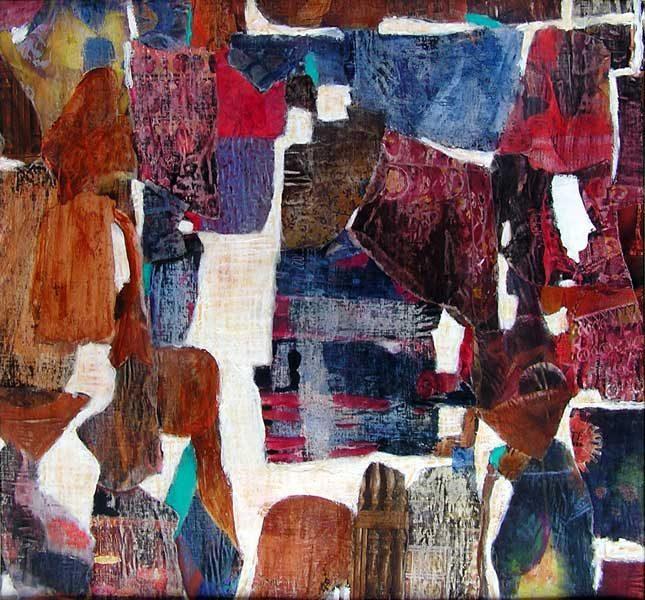 Nelly Bonmartin 2008 - Composition à l'acrylique sur collage (III)