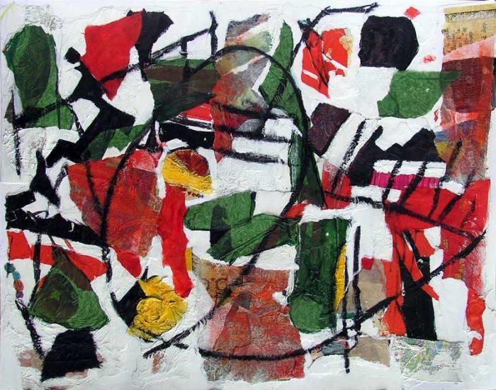 Nelly Bonmartin 2008 - Composition à l'acrylique sur collage (II)