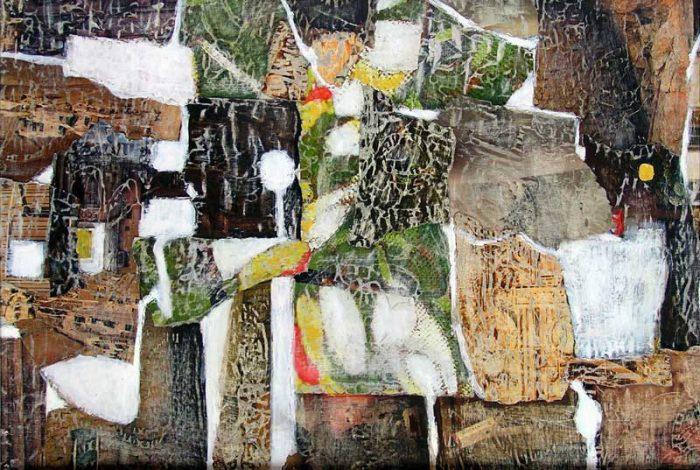 Nelly Bonmartin 2008 - Composition à l'acrylique sur collage (IV)