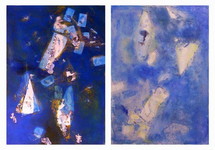 Yolande Bernard 2008 - Composition avec acrylique, papier collé et arraché.