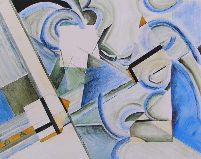 Martine Lucy 2008 - Composition à l'acrylique  d'après un collage (I)