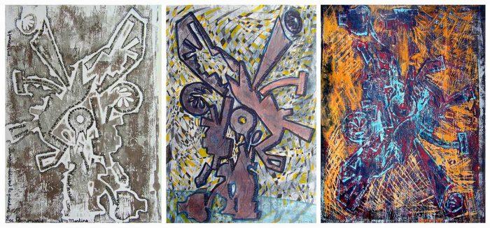 Anum 2008 - Machine à peindre - Monotypes rehaussés à l'acrylique et au stylo