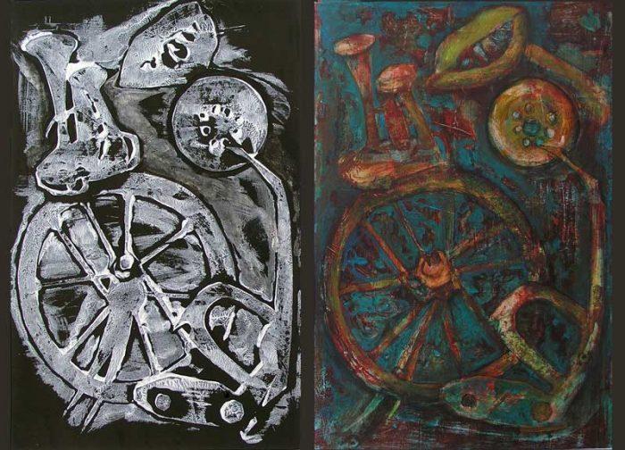 Françoise Guillemare 2008 - Machine à peindre - Peinture acrylique sur transferts (IV)