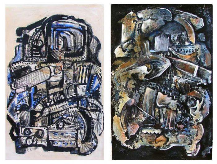 Jacqueline Gagnès-Deneux 2008 - Machine à peindre - Variations autour de monotypes (III et IV)